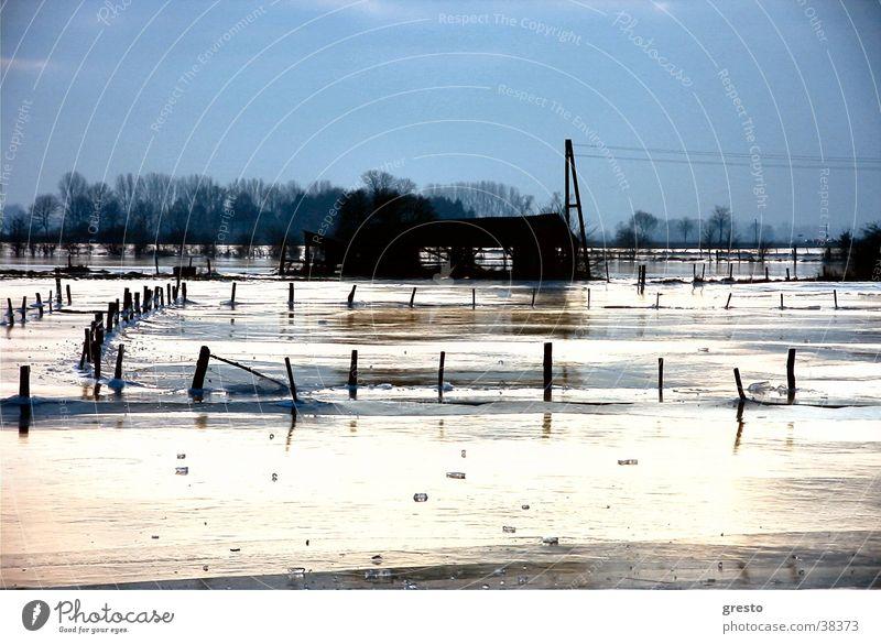 Eiszeit Winter Landschaft Eis Trauer Romantik Hütte Rhein Niederrhein Kleve Rees