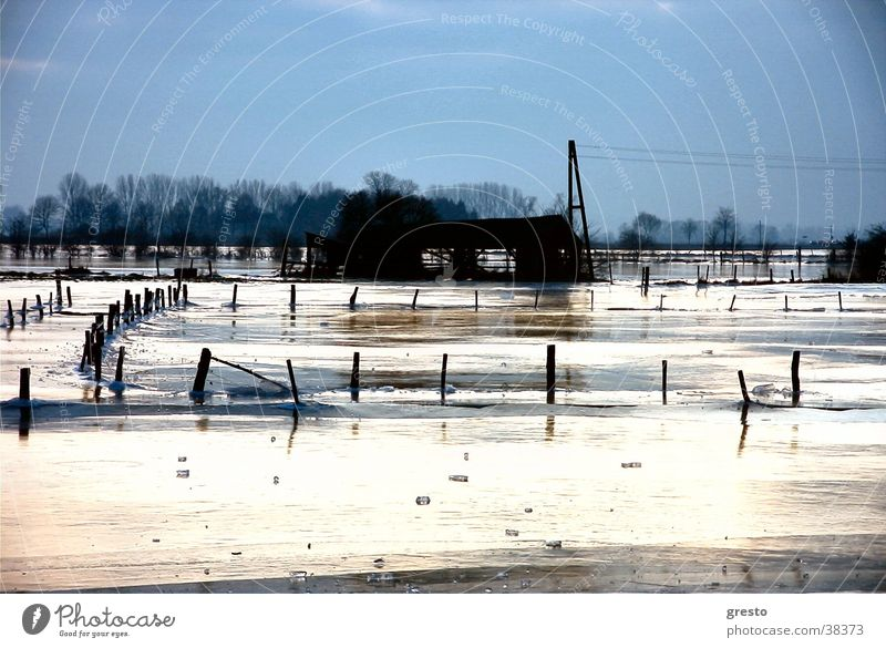 Eiszeit Winter Landschaft Trauer Romantik Hütte Rhein Niederrhein Kleve Rees