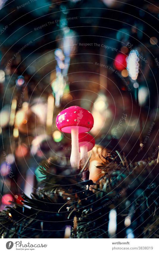 Fliegenpilz Christbaumschmuck Weihnachten Ornament Dekoration & Verzierung Glitter Feiertag Baum Dezember Kerze Glück farbenfroh Ball Lametta Urlaub Geschenk
