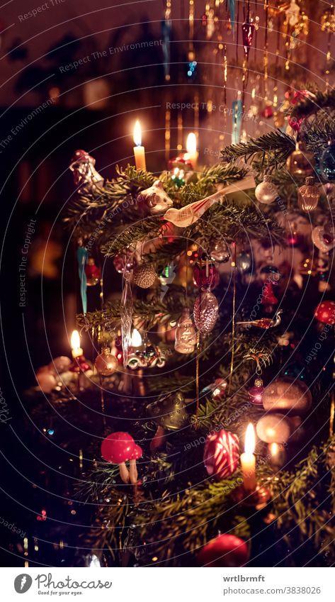 Ein Detail eines klassischen deutschen Weihnachtsbaums mit echten Kerzen und viel Lametta. Im Kerzenschein beleuchtet gibt es viele verschiedenen Christbaumschmuck zu entdecken.