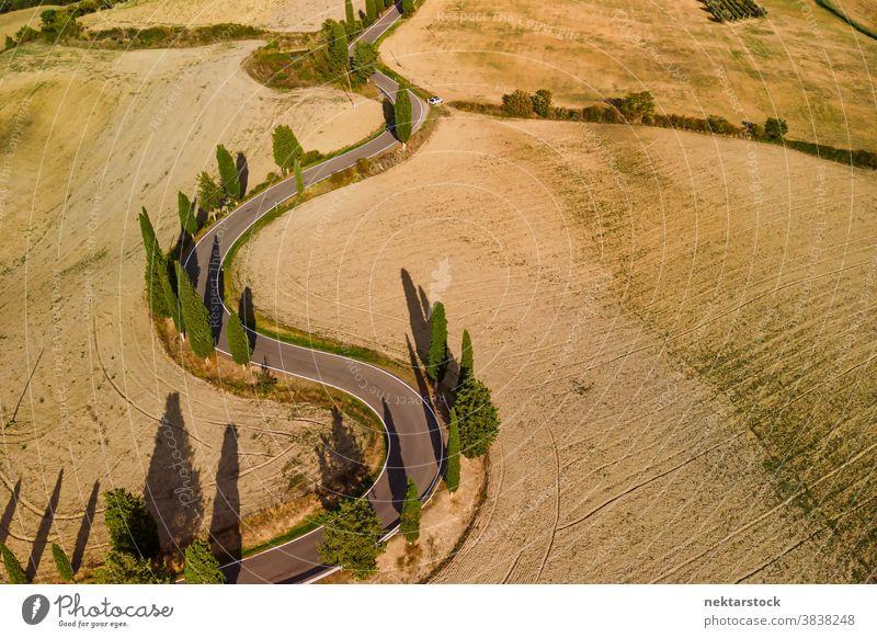 Landschaftlich reizvolle kurvenreiche Straße und Getreidefelder in der Toskana Italien Ackerbau Feld ländlich Ackerland geschlängelt Pienza
