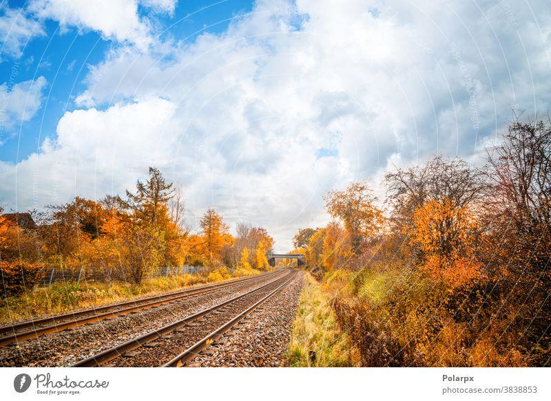 Eisenbahnschienen durch eine farbenfrohe Herbstlandschaft Straße Ruhe Weg niemand Spuren Kurve Kies malerisch Himmel im Freien Hintergrund Sonnenuntergang