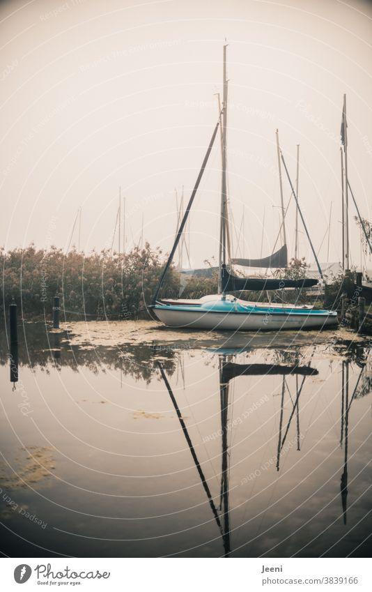 Kleines Segelboot liegt im Nebel am Bootsanleger Jolle See Wasser Hafen segeln Segeltörn Anlegesteg Wasserfahrzeug nebelig Ferien Urlaub Segelschiff Segelurlaub