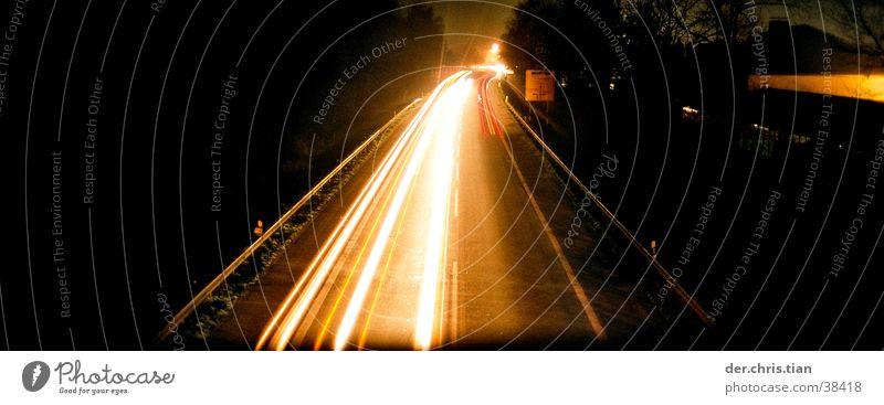 brückelichter Verkehr Autobahn Brücke Licht Lichtschweif Nacht Straße Langzeitbelichtung