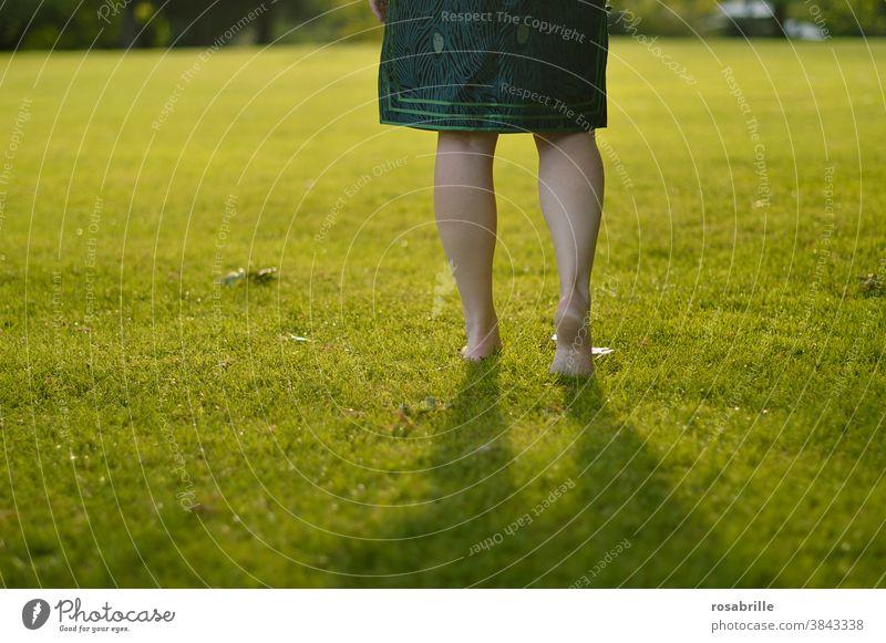 Beine einer Frau, die barfuß über einen weichen Rasen geht mit Gegenlicht gehen grün Fläche Freifläche Platz spazieren wandern zuversichtlich selbstbewusst Gras