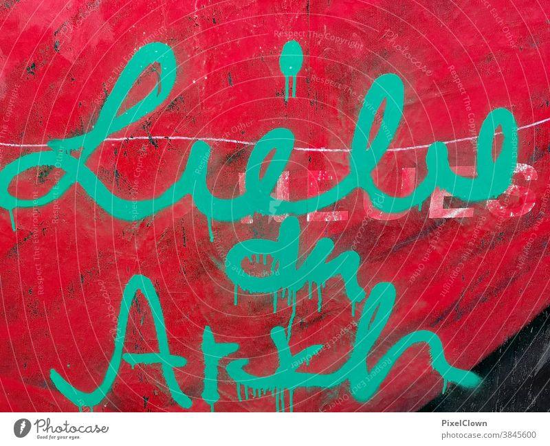 Graffiti Wand Farbfoto Fassade Schriftzeichen rot Liebe Romantik Zeichen Liebeserklärung Liebesgruß