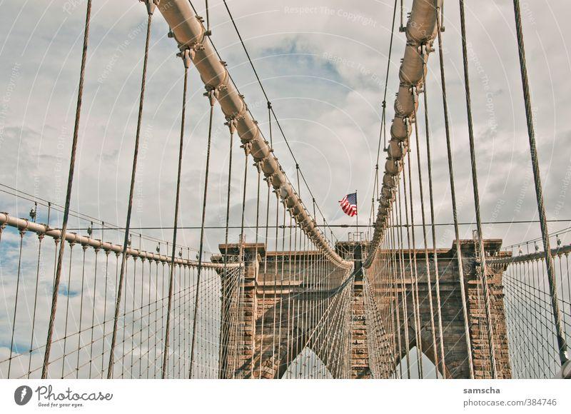 Welcome to Brooklyn Ferien & Urlaub & Reisen alt Stadt Ferne Umwelt Freiheit Verkehr Tourismus Ausflug Abenteuer Brücke USA Bauwerk Fahne Stadtzentrum