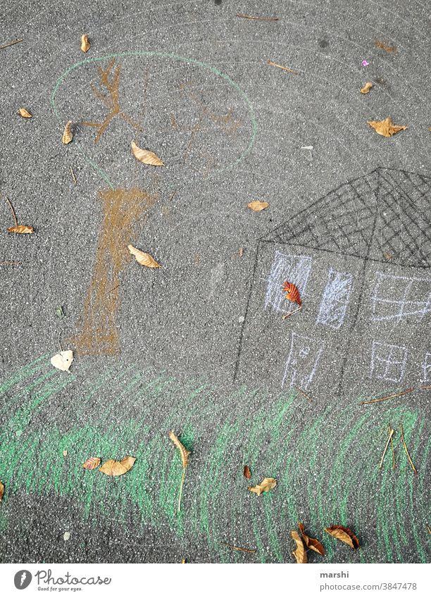 my home is my castle kreide malen zeichnen kindheit straße zuhause baum stayhome corona wohnen eigentum bauen träume wunschhaus traumhaus