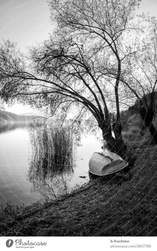 Boot liegt am Seeufer, Schwarz-Weiß-Fotografie schwarz weiß Österreich Herbst Landschaft Natur Wasser Außenaufnahme Umwelt Himmel ruhig Menschenleer Idylle
