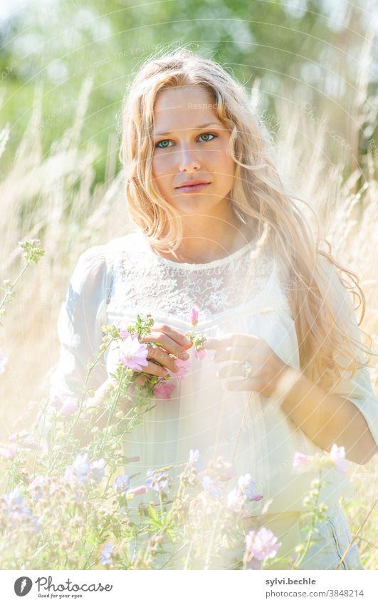 junge Frau im Feld in zarten creme-Tönen - Teil II schön frau Junge Frau Porträt Erwachsene langhaarig blond Schönheit feminin Haare & Frisuren Gesicht bluse