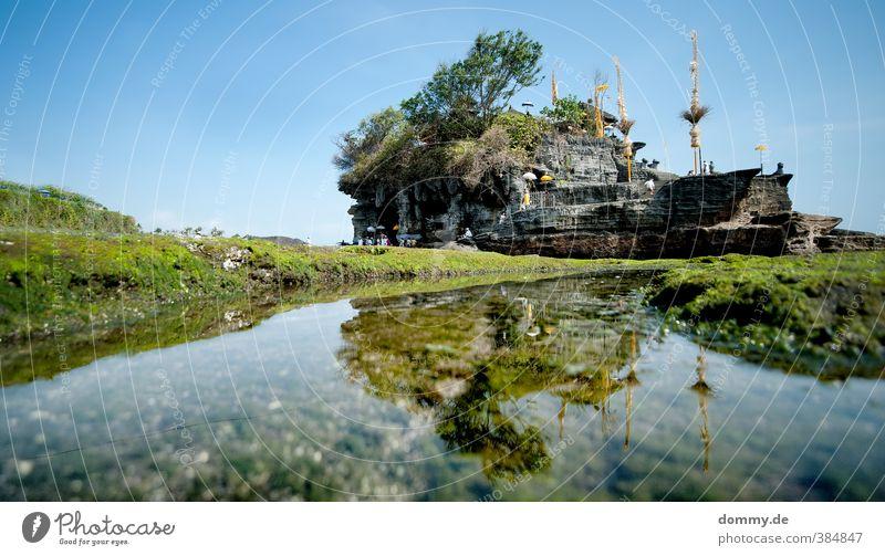 tanah lot Natur Wolkenloser Himmel Meer Indischer Ozean Glück Vertrauen Tempel Küste Buddhismus Buddha heilig Bali Indonesien Hinduismus Moos Freiheit