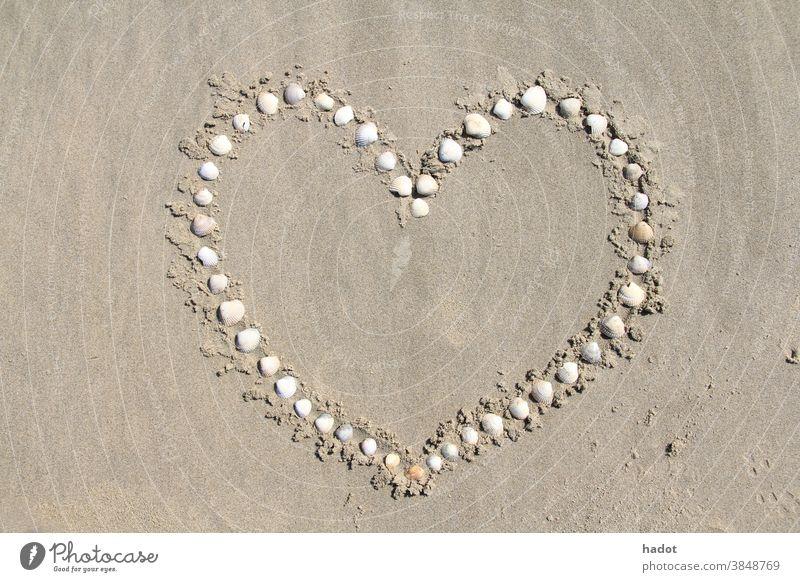 Herz Strand Strandkämmung Liebe Sand Sandstrand MEER Formen Panzer Muscheln Ufer Symbol