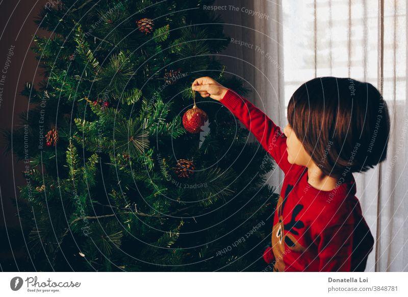 Kind schmückt den Baum von hinten gesehen 4-5 Jahre Weihnachten Weihnachtsbaum Kindheit Gardine Dekoration & Verzierung Festlichkeit grün Hand Glück heimwärts