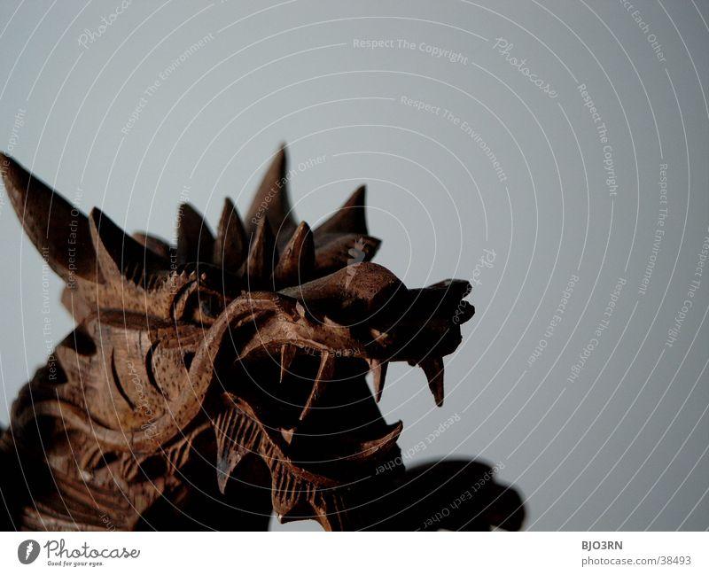 Drachen Kopf #2 dunkel Holz hell Dekoration & Verzierung bedrohlich Kitsch Asien Gebiss Statue China böse Japan obskur Drache Monster Krimskrams