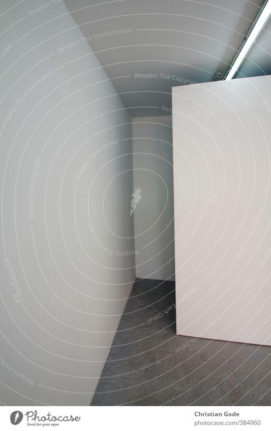 grafisch / interspace weiß Wand Mauer grau Bodenbelag graphisch Neonlicht Decke Schattenspiel Grauwert Paravant