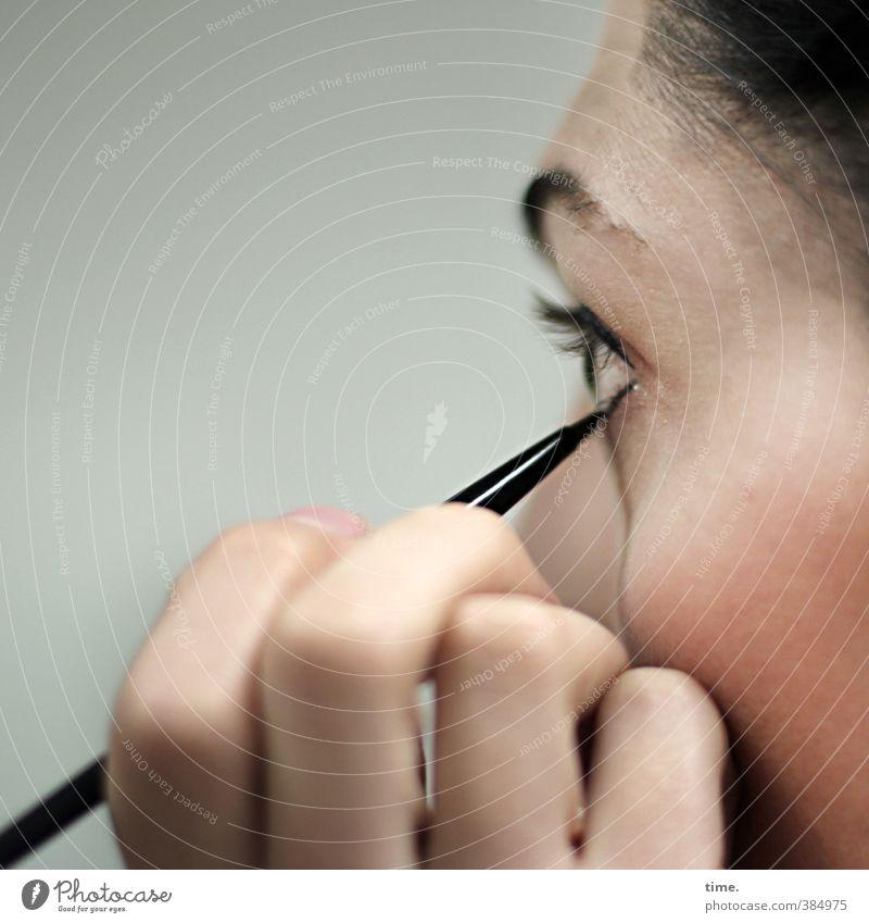 C. feminin Frau Erwachsene Kopf Gesicht Auge Hand Finger Augenbraue Stirn 1 Mensch 18-30 Jahre Jugendliche schwarzhaarig beobachten Blick schön Vorfreude