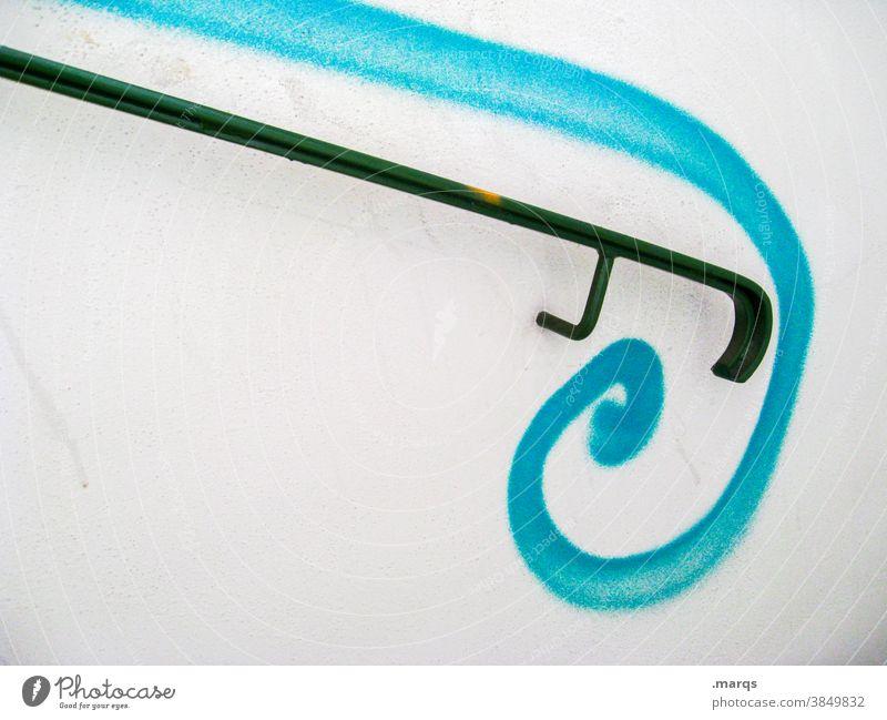 Geländer mit Schnörkel Treppengeländer Dekoration & Verzierung schwarz blau weiß Graffiti stylisch Ästhetik
