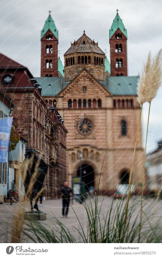Speyer city Dom pfalz Straße Fußgängerzone grauer Himmel graue Wolken Herbst Tilt-Shift Leben Hauptstraße Rheinland-Pfalz Stadt Altstadt Kirche Stimmung