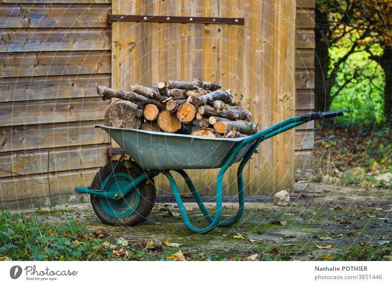 Schubkarre mit Brennholz gefüllt Holz Wald geschnitten stere Heizung zum Aufwärmen ökologisch Umwelt Baracke Garten Außenaufnahme Natur Herbst