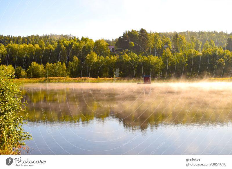 Haus im Morgennebel Nebel Wasser Meer See Sonne Sonnenaufgang Wald Schweden Skandinavien Himmel Natur Sommer Landschaft Farbfoto Tag Freizeit Hobby Fluss