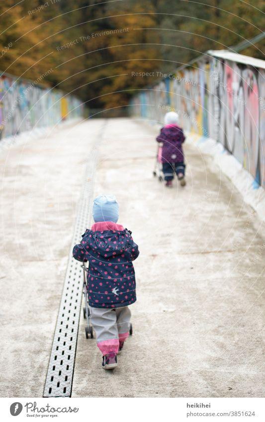 zwei kleine Kinder mit Kinderwagen auf dem Weg zum Spielplatz mädchen kind park familie wald herbst menschen brücke stadt urban schieben gehen kinderwagen