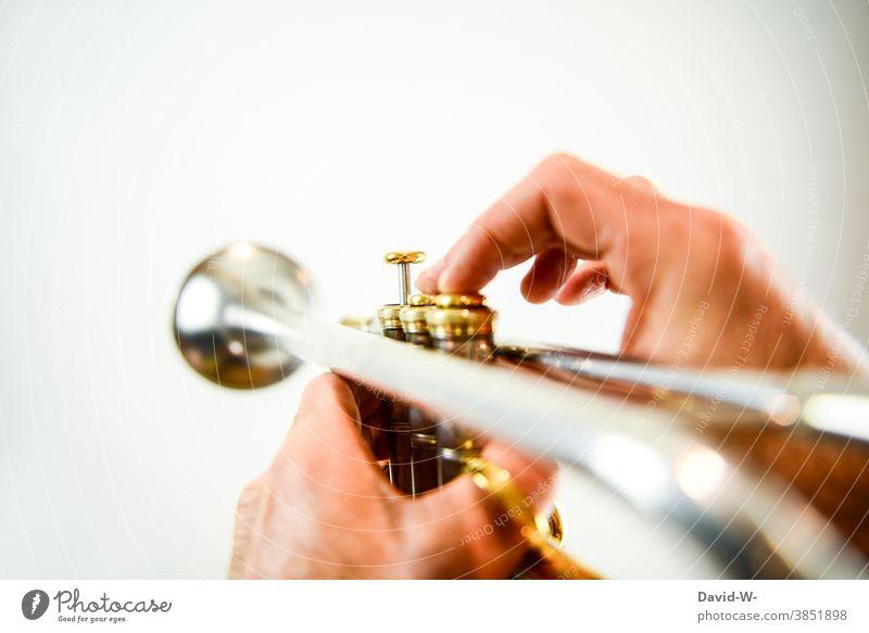 Trompeter musiziert mit seinem Instrument Musiker Musikinstrument musikalisch Klang spielen musizieren Kultur Freizeit & Hobby üben