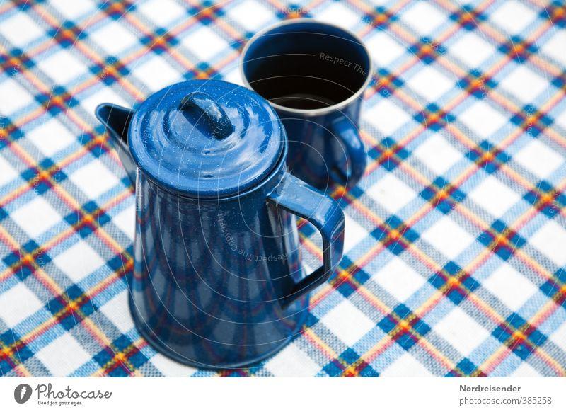 Lieblingskanne Ferien & Urlaub & Reisen blau weiß Erholung Linie Schönes Wetter Ernährung Getränk Streifen Kaffee Lebensfreude Camping Frühstück Geschirr Duft Tasse
