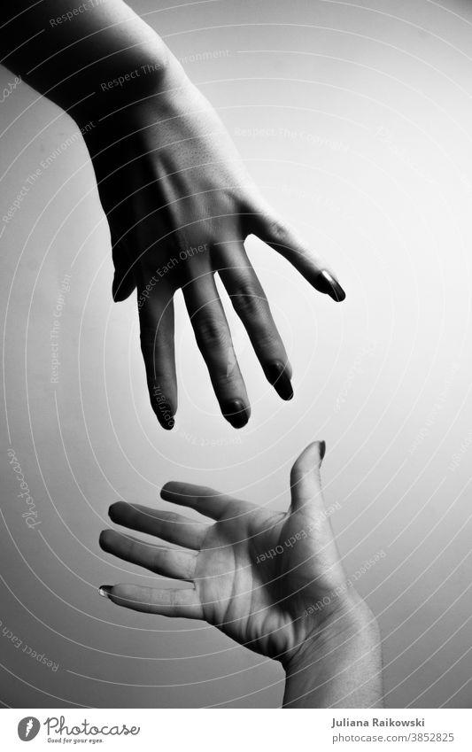 Hände, die sich berühren wollen Hand Finger Mensch Detailaufnahme Frau Vertrauen Freundschaft Erwachsene Sympathie feminin Zusammensein 2 Liebe Geborgenheit