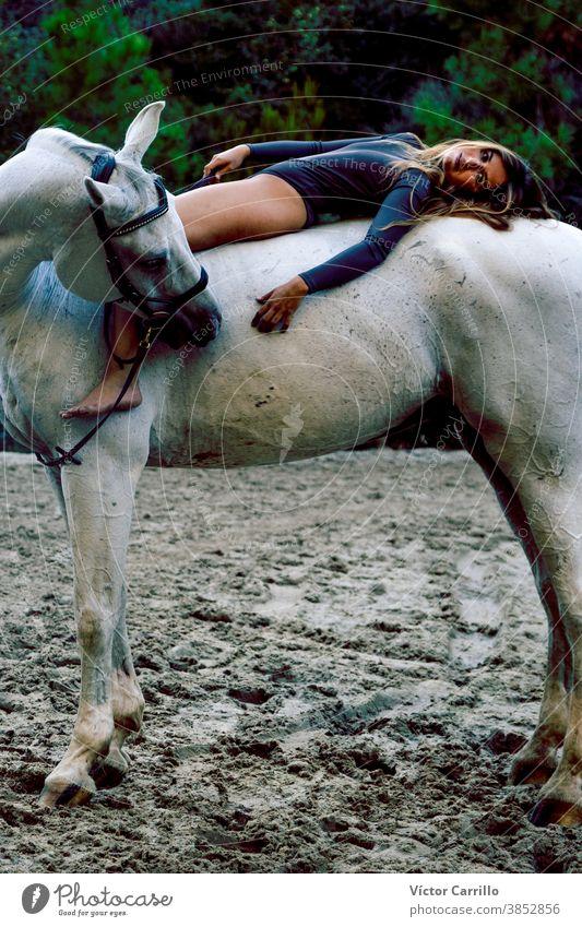 Junges schönes Mädchen mit weißem Pferd im Wald. Reiterin im Boho-Stil. Naturszene im Sommer. Mode Tier attraktiv Schönheit Kaukasier Landschaft niedlich Kleid