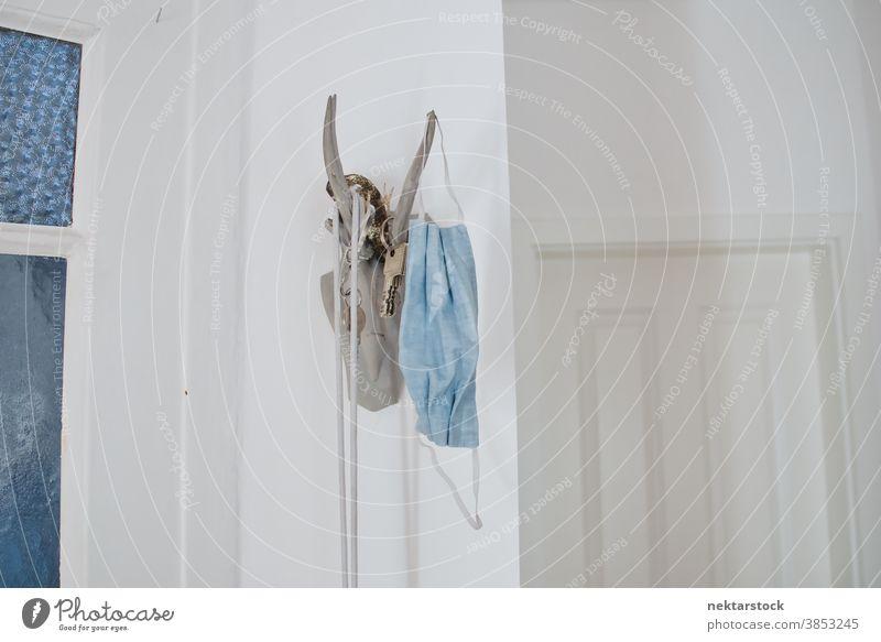 Schlüssel und Schutzmaske am Hirschgeweih-Kopfbügel hängend Taste Mundschutz Kleiderbügel Geweih Bock dekorativ Hirsche Tierkopf erhängen keine Menschen niemand