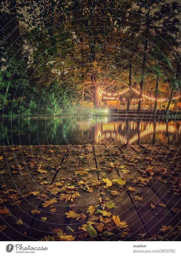 Verlassen Nacht See Lokal Biergarten Lichter Reflexion & Spiegelung Wasser ruhig Laub Bäume Tiergarten Berlin Holzbohlen Lichterkette Außenaufnahme Seeufer