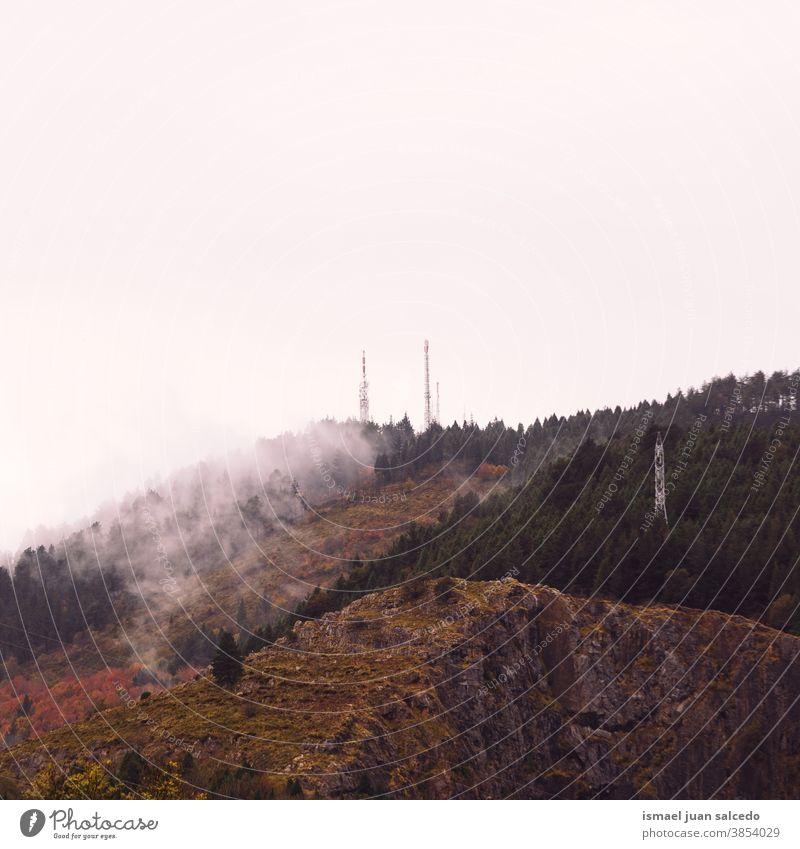 Berg mit Herbstfarben in der Herbstsaison, Bilbao, Spanien Berge u. Gebirge Hügel Landschaft Ansicht Natur Ländliche Szene Bäume Wolken Nebel nebliger Morgen