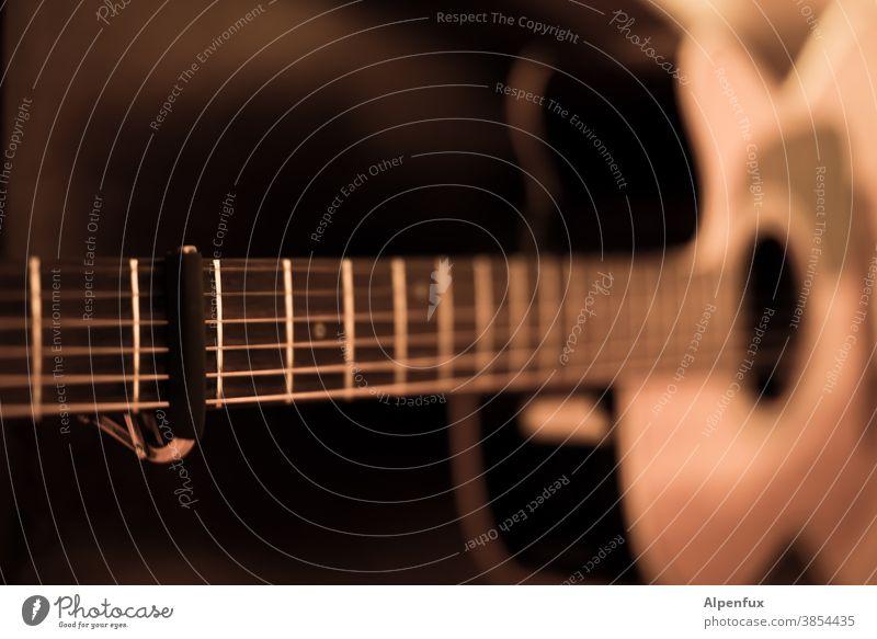 Capo 3rd fret Gitarre Musik Musikinstrument musizieren akustisch Klang Saite Gitarrensaite kapodaster Gitarrenhals komponieren Saiteninstrumente Detailaufnahme