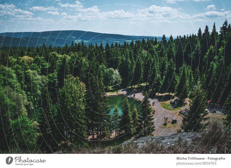 Blick über den Bergsee an der Ebertswiese / Thüringen Thüringer Wald See Wasser Bäume Berge Landschaft Natur Himmel Wolken Ferien & Urlaub & Reisen Erholung
