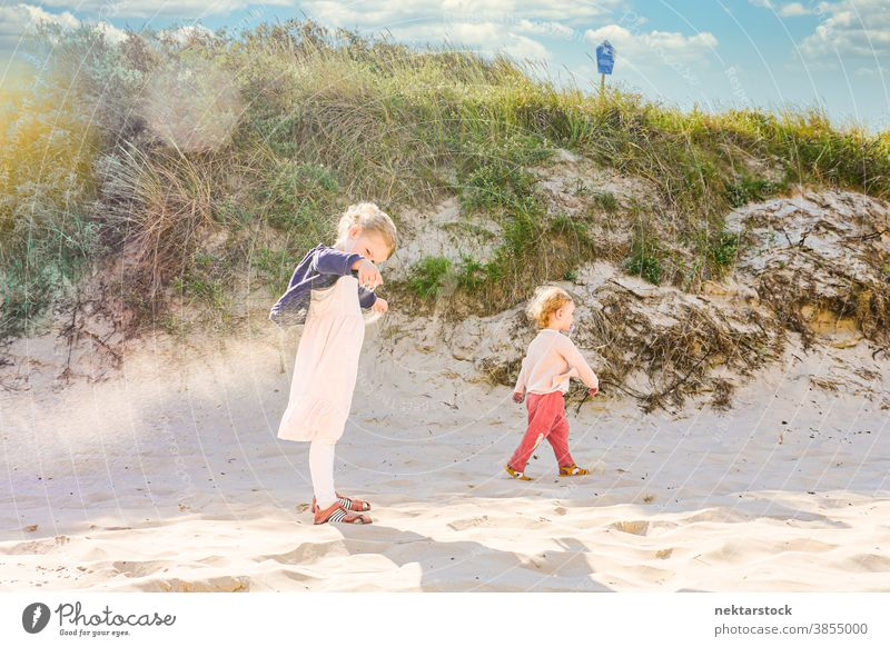 Geschwister in der Sanddüne Kinder Geschwisterkind Schwester Düne Strand Mädchen Kaukasier Frau 2 Menschen Seitenansicht 2 Jahre alt 4 Jahre alt sonnig spielen