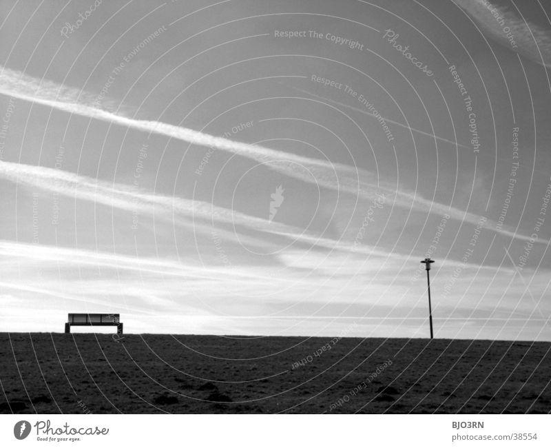 Meer sehn #9 - LeseEcke ruhig Erholung Lampe Deich Dämmerung Wolken See Strand Bank Abend Himmel
