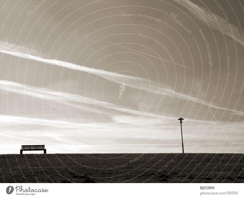 Meer sehn #6 - Banknachbar Himmel Meer Strand ruhig Wolken Lampe Erholung See Bank Deich