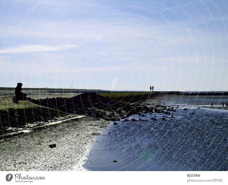Meer sehn #2 - Pause Mensch Himmel blau Wasser Meer See Deich Ebbe