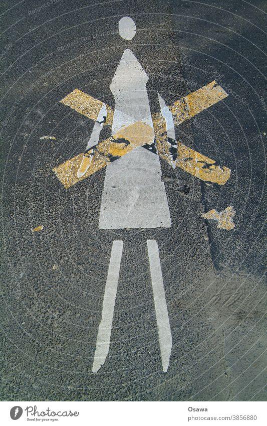 Frau, kreuzweise Straße Asphalt Symbol Piktogramm Kreuz X ausgekreuzt Bild Farbe Schwarz Weiß gelb orange Kopf Beine Arme Kleid Fahrbahnmarkierung Sexismus