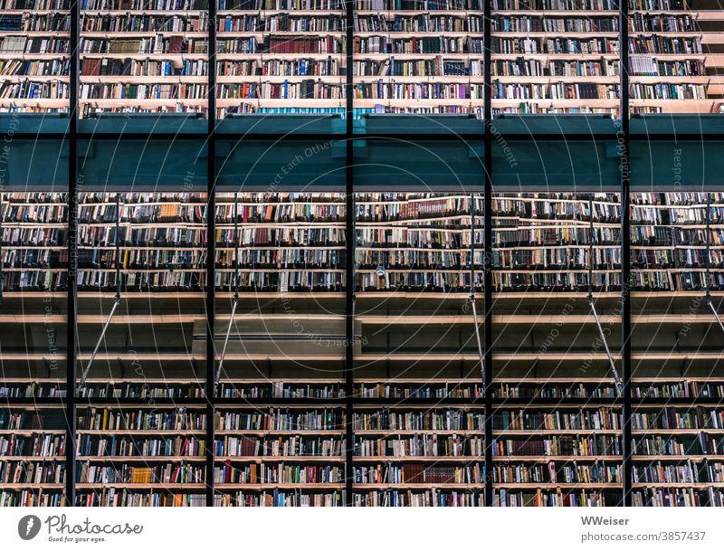 Eine Wand aus Tausenden von Büchern in einer Bibliothek viele Spiegelung Eegale Glas Menge Riga Lettland Staatsbibliothek lesen Lektüre Kunst Literatur Buch