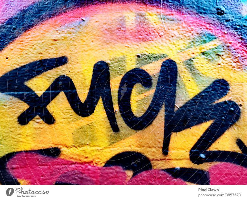 buntes Graffiti Haus Außenaufnahme Wand Fassade Stadt Mauer Fuck Street art