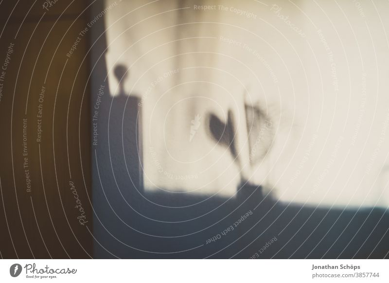 Schatten von Stampfer und Sieb im Krug heimwärts Küche Raum Textur Wand Innenaufnahme