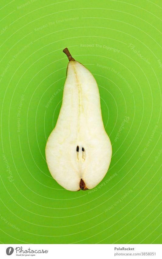#A0# grüne Birne birne Vegetarisch Obst gesund Ernährung gesunde ernährung halbiert Hälfte kerngehäuse Grün Garten Lebensmittel