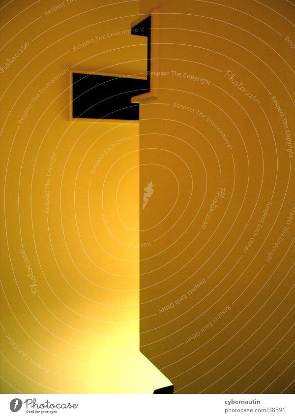 Treppenhaus Flur Wand gelb Licht Architektur Kontrast