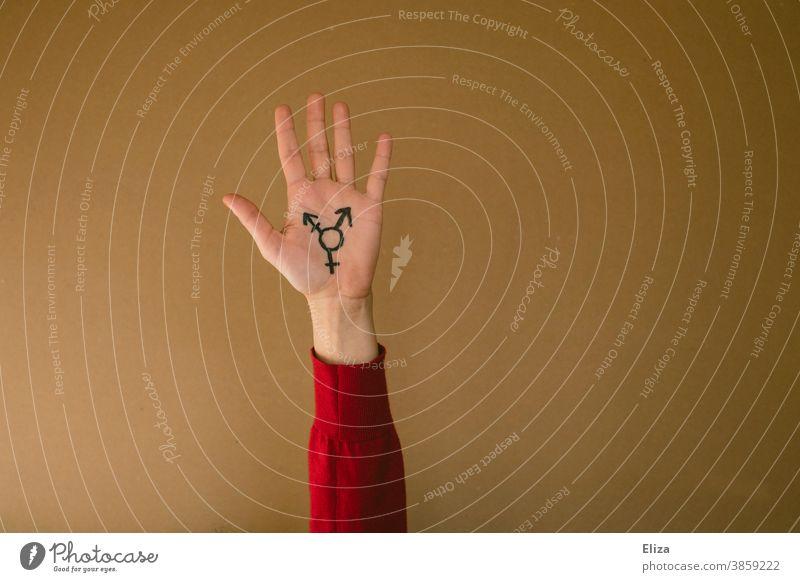 Eine hochgehaltene Hand mit dem Transgender-Symbol vor neutralem Hintergrund Vielfalt Sexualität Freiheit Gleichstellung lgbtq Pride Geschlecht