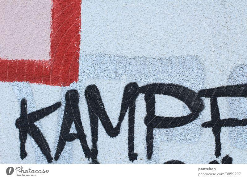 Kampf..gegen Corona graffiti Wort krieg bekämpfen aggression schrift wand Schriftzeichen Text