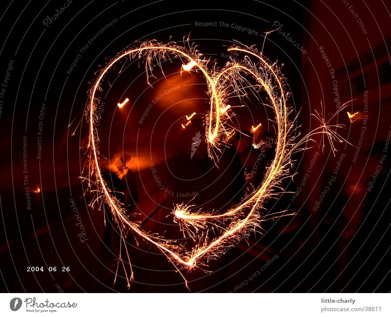 flammendes Herz Silvester u. Neujahr Wunderkerze Langzeitbelichtung