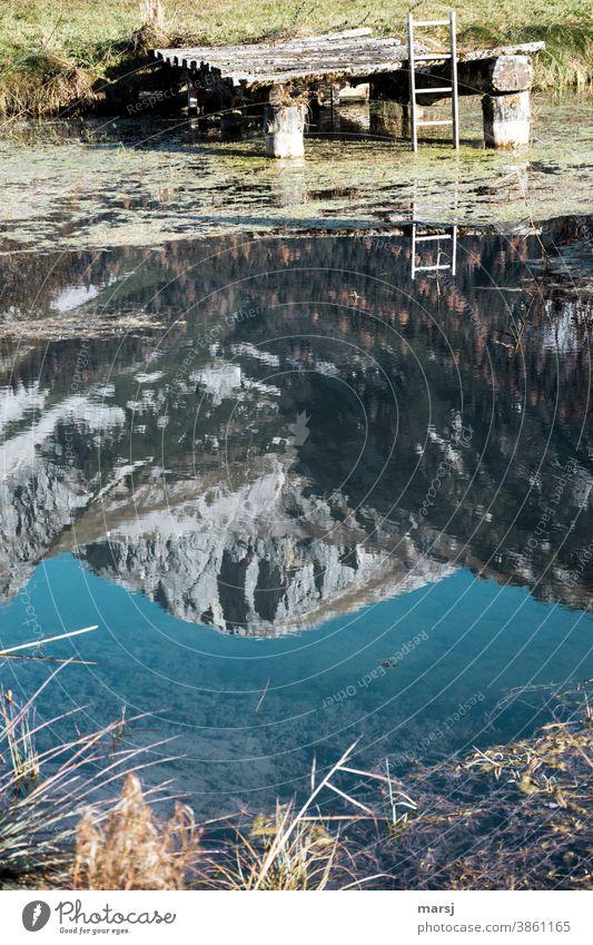 Der Ausweg aus der versunkenen Bergwelt. Spiegelung vom Sinabell in einem Fischteich mit Anlegestelle und Ausstiegsleiter Wasser Alpen Reflexion & Spiegelung