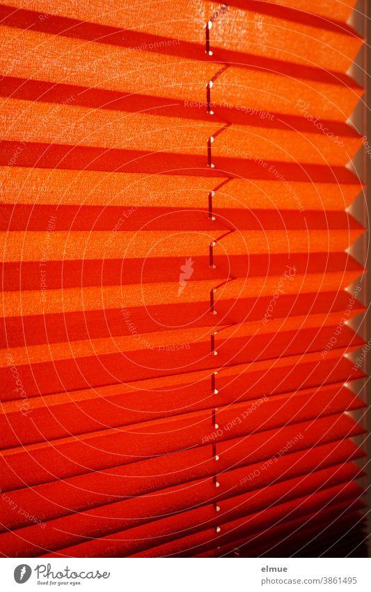 orangefarbene Plisseejalousie vor einem Fenster als Sonnenschutz / Lichtschutz / Sichtschutz Jalousie Lamellen innen wohnen Rollo Fenstervorhang