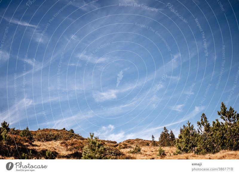 Cirrus Wolken blauer Himmel Zirruswolken Blauer Himmel Schönes Wetter Herbst Wandertag Natur Meteorologie Phänomen
